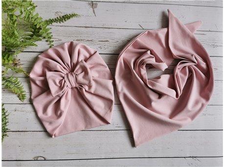 turban z chusta jasny brudny róż